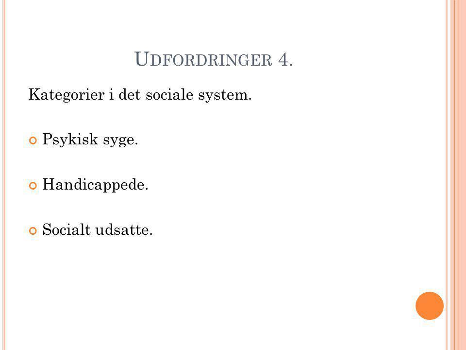 Udfordringer 4. Kategorier i det sociale system. Psykisk syge.