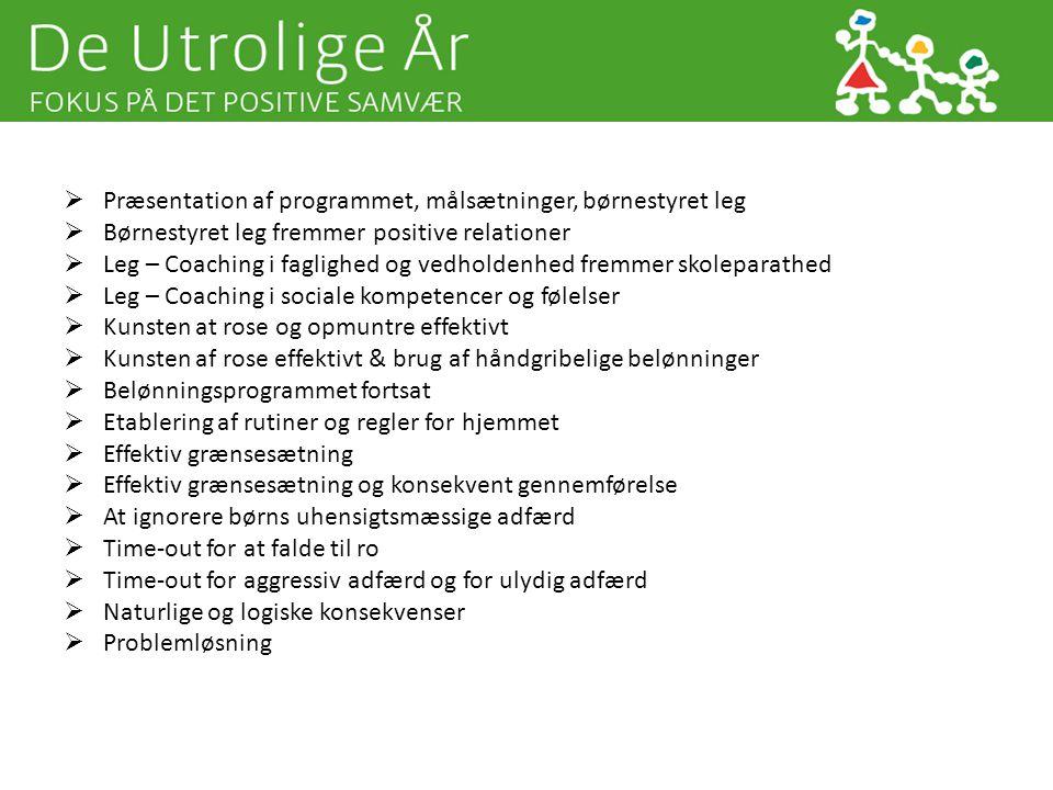 Præsentation af programmet, målsætninger, børnestyret leg