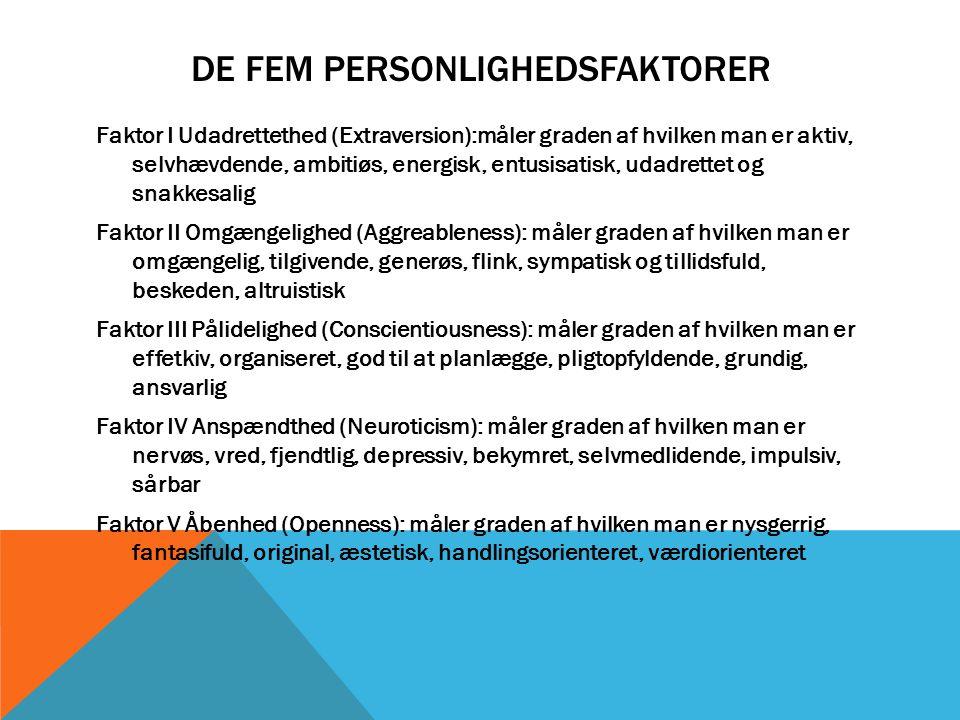 De fem personlighedsfaktorer