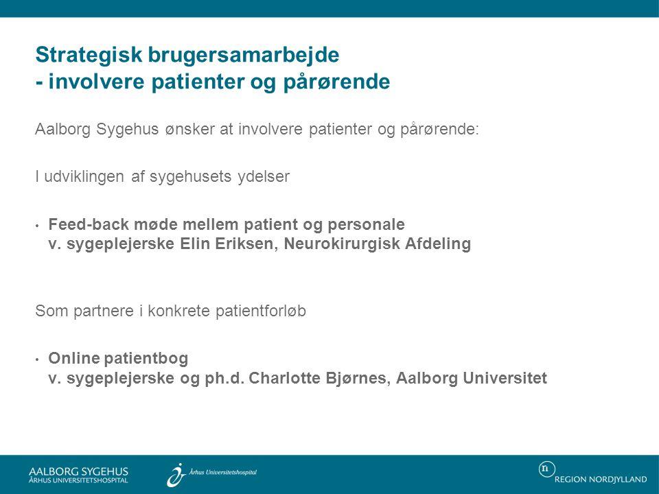 Strategisk brugersamarbejde - involvere patienter og pårørende