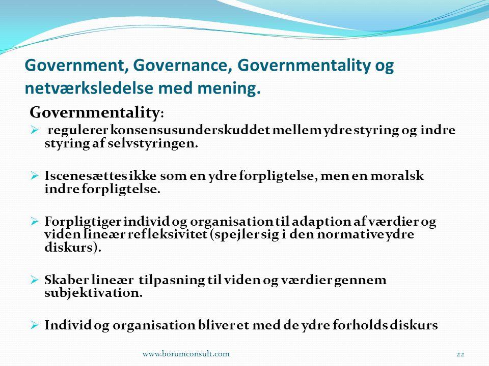 Government, Governance, Governmentality og netværksledelse med mening.