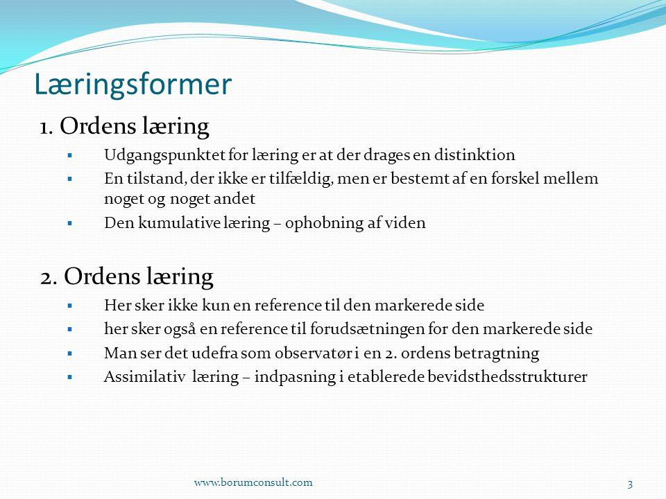 Læringsformer 1. Ordens læring 2. Ordens læring