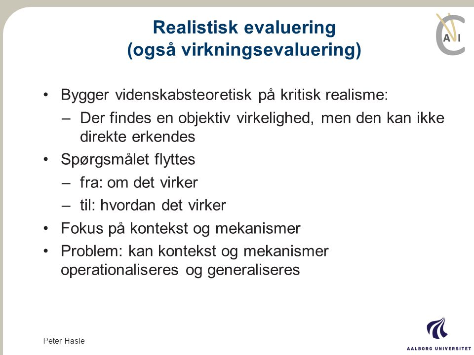 Realistisk evaluering (også virkningsevaluering)