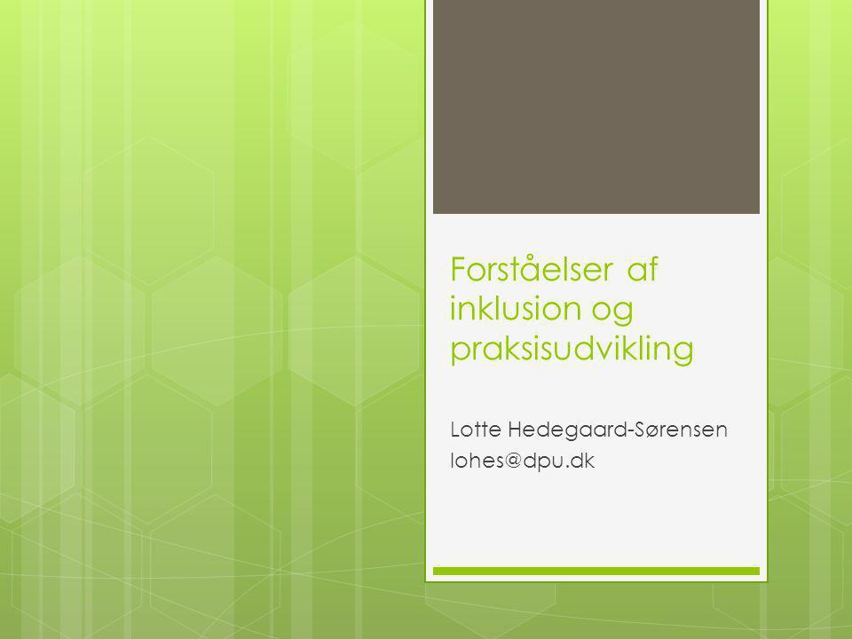 Forståelser af inklusion og praksisudvikling