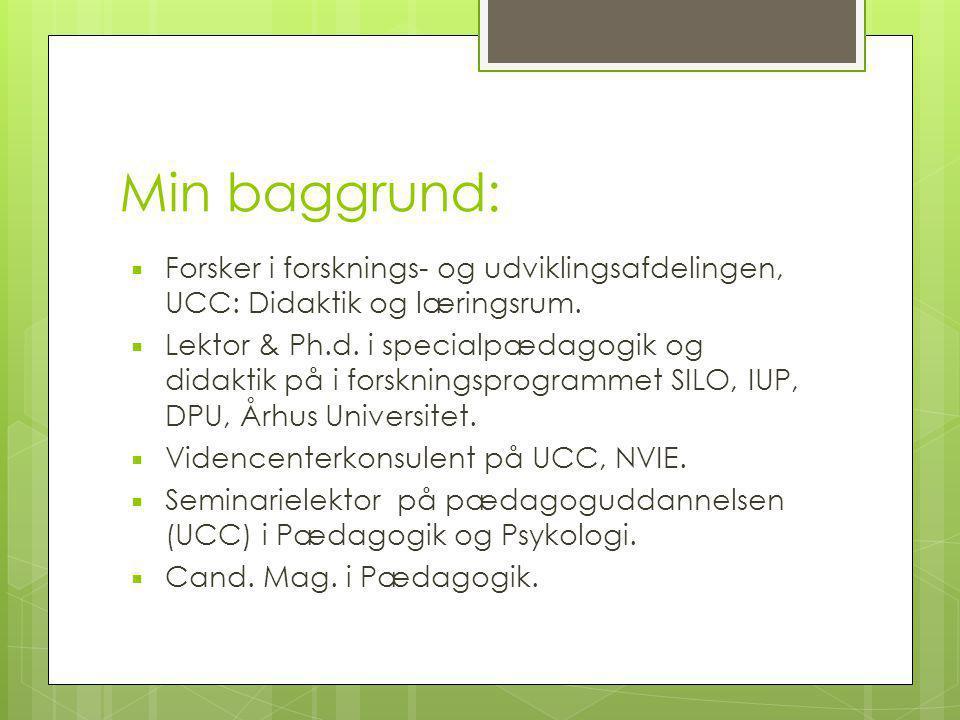 Min baggrund: Forsker i forsknings- og udviklingsafdelingen, UCC: Didaktik og læringsrum.