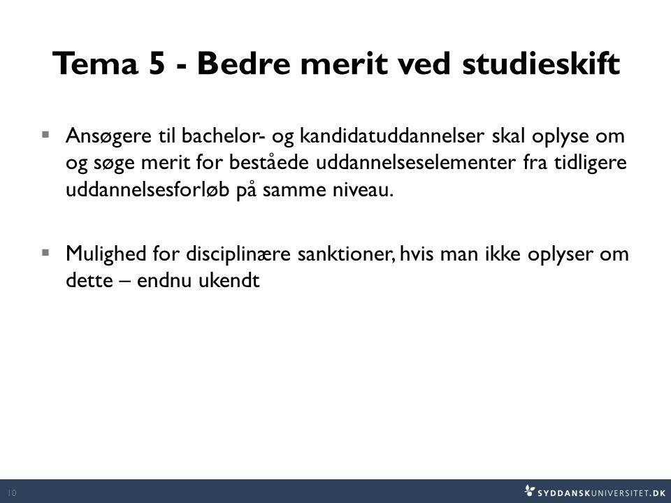 Tema 5 - Bedre merit ved studieskift