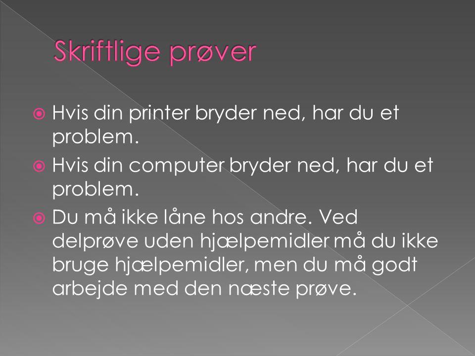 Skriftlige prøver Hvis din printer bryder ned, har du et problem.