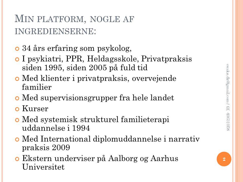 Min platform, nogle af ingredienserne: