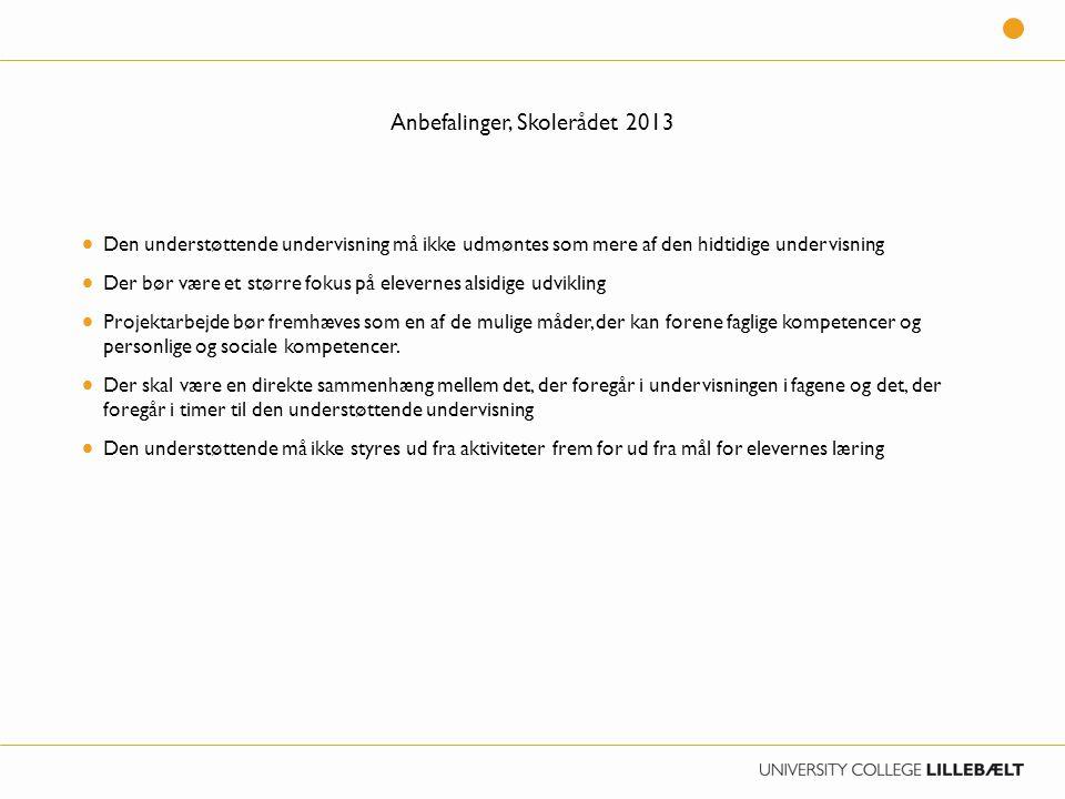 Anbefalinger, Skolerådet 2013