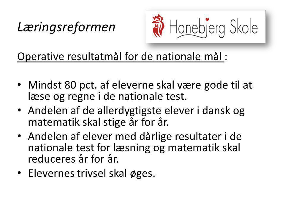 Læringsreformen Operative resultatmål for de nationale mål :