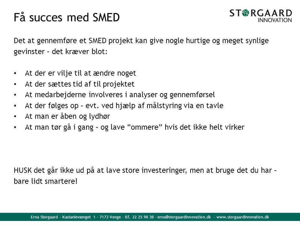 Få succes med SMED Det at gennemføre et SMED projekt kan give nogle hurtige og meget synlige. gevinster – det kræver blot: