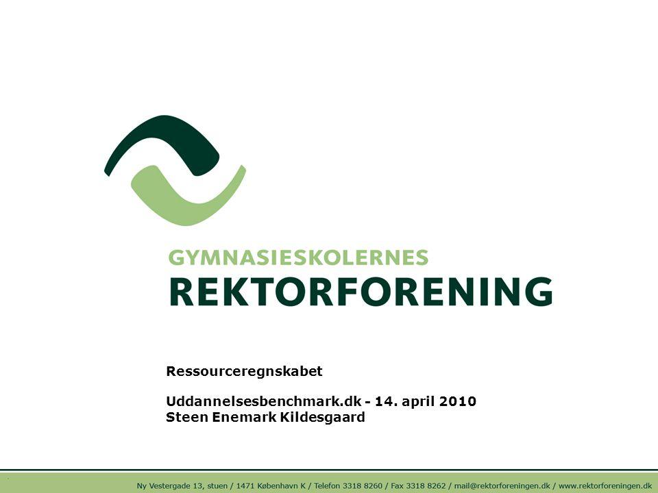 Ressourceregnskabet Uddannelsesbenchmark.dk - 14. april 2010 Steen Enemark Kildesgaard