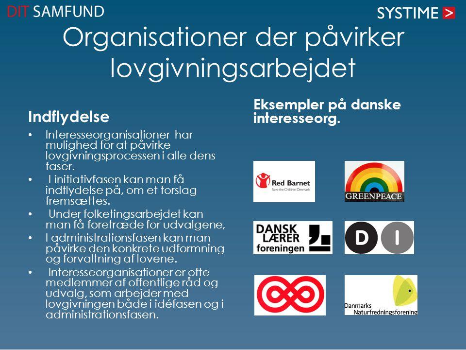 Organisationer der påvirker lovgivningsarbejdet