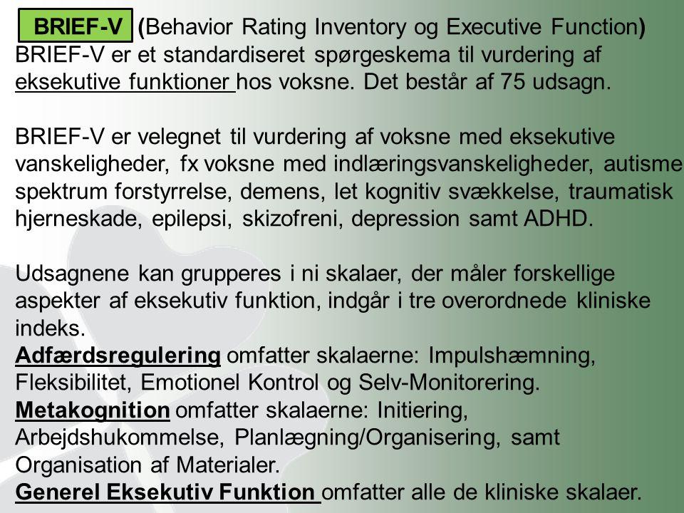 BRIEF-V (Behavior Rating Inventory og Executive Function)