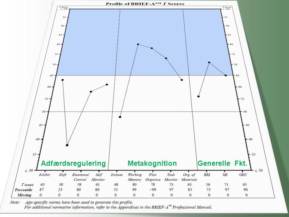 Adfærdsregulering Metakognition Generelle Fkt.