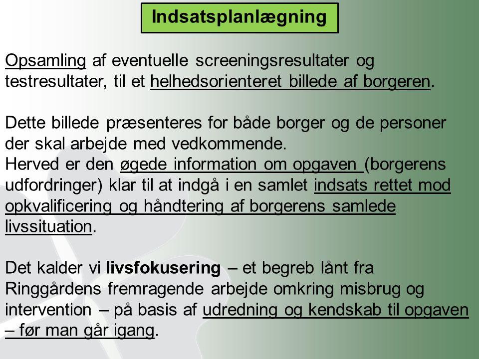 Indsatsplanlægning Opsamling af eventuelle screeningsresultater og testresultater, til et helhedsorienteret billede af borgeren.