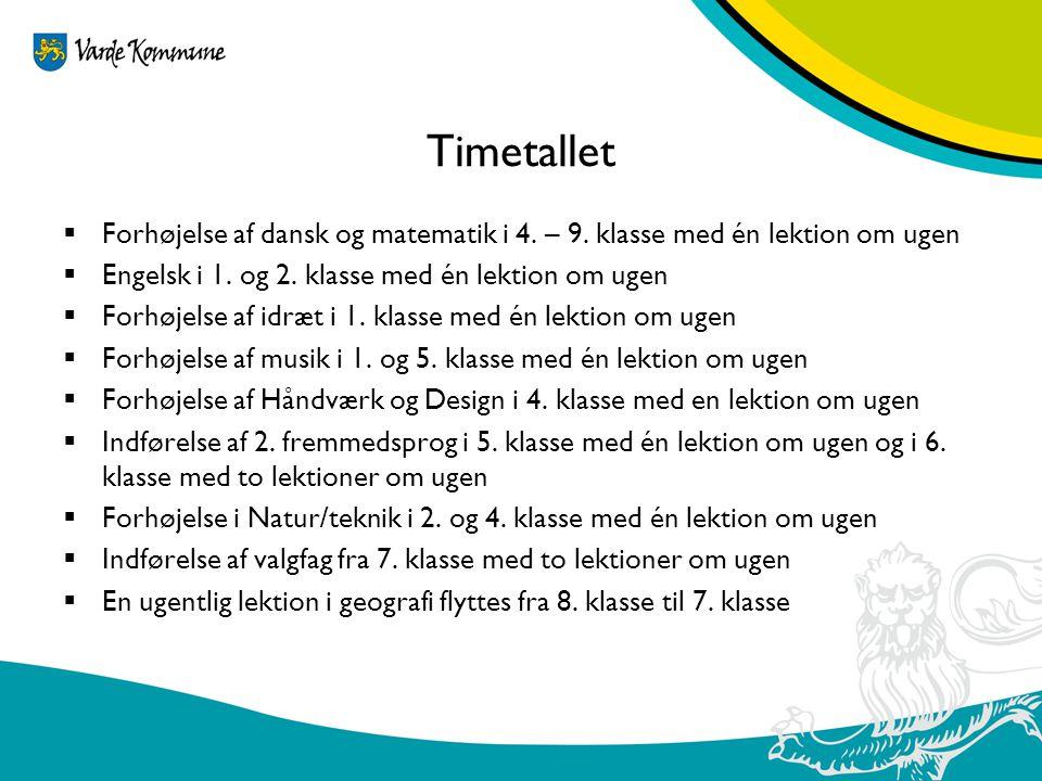 Timetallet Forhøjelse af dansk og matematik i 4. – 9. klasse med én lektion om ugen. Engelsk i 1. og 2. klasse med én lektion om ugen.