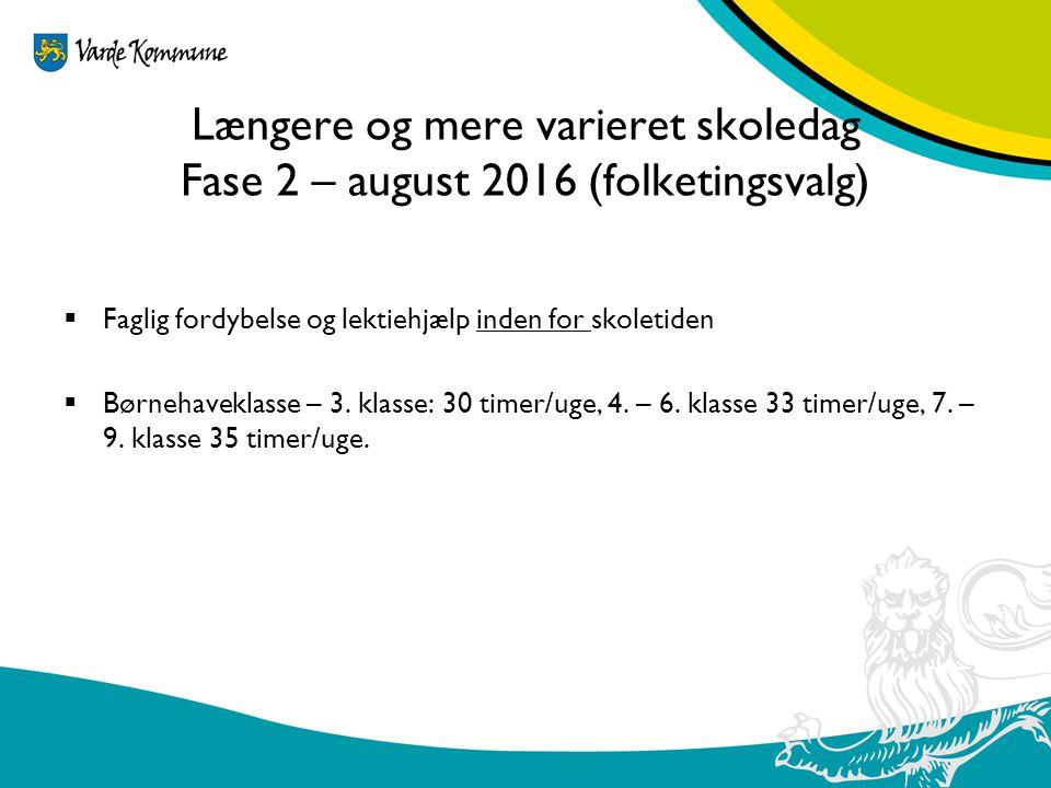 Længere og mere varieret skoledag Fase 2 – august 2016 (folketingsvalg)