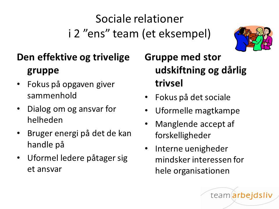 Sociale relationer i 2 ens team (et eksempel)