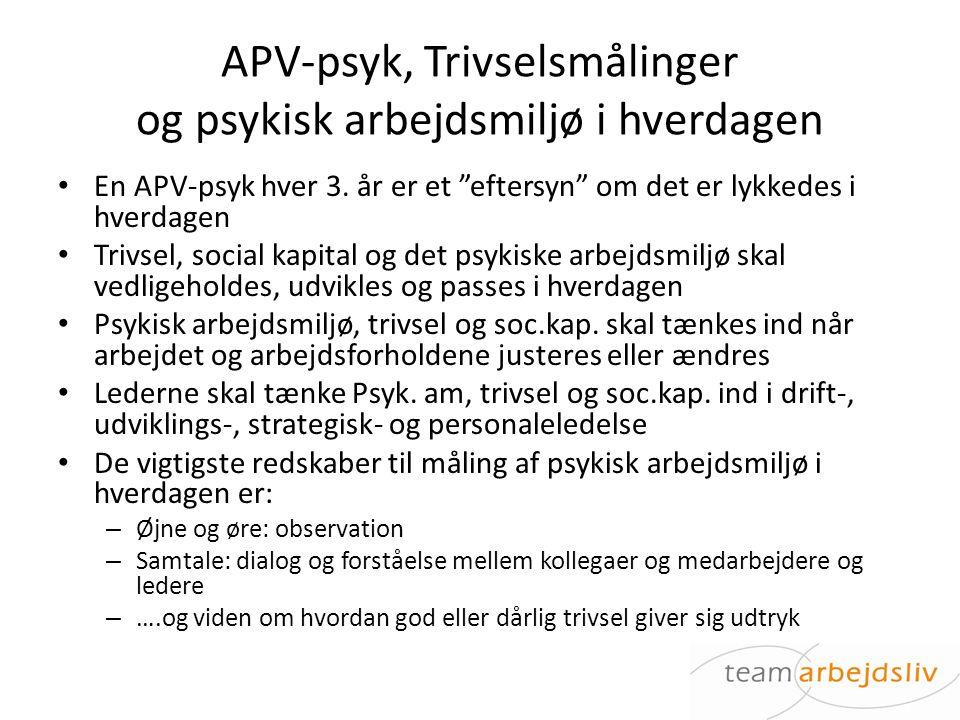 APV-psyk, Trivselsmålinger og psykisk arbejdsmiljø i hverdagen