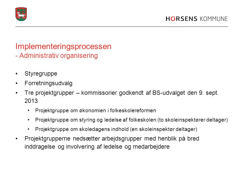Implementeringsprocessen - Administrativ organisering