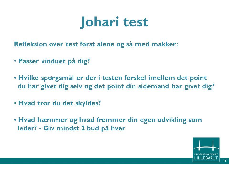 Johari test Refleksion over test først alene og så med makker: