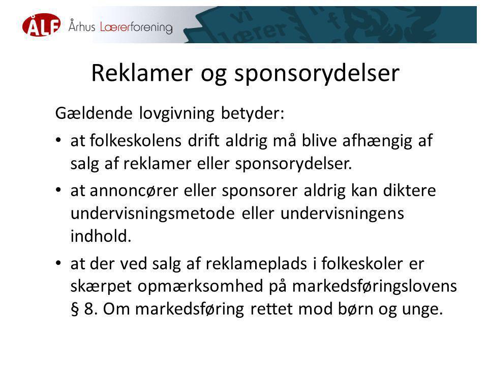 Reklamer og sponsorydelser