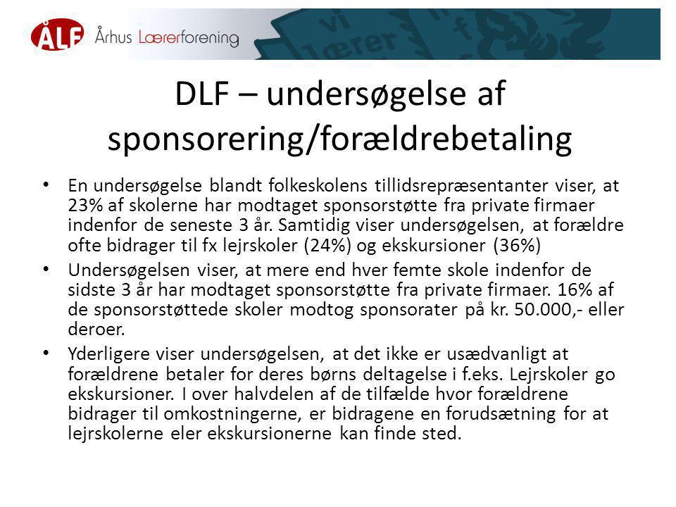 DLF – undersøgelse af sponsorering/forældrebetaling