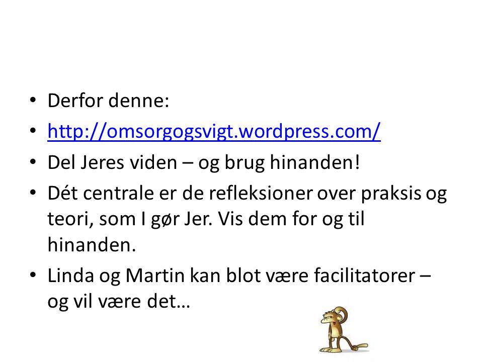 Derfor denne: http://omsorgogsvigt.wordpress.com/ Del Jeres viden – og brug hinanden!
