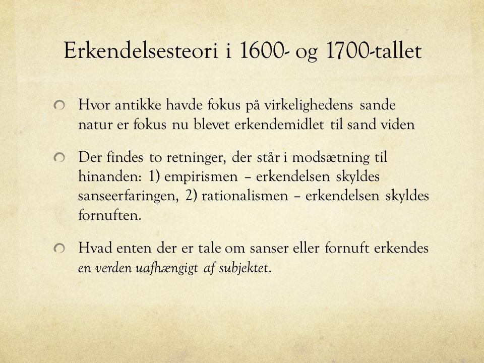 Erkendelsesteori i 1600- og 1700-tallet