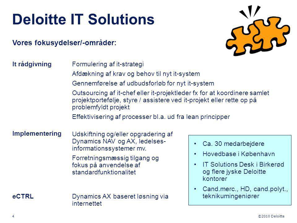Deloitte IT Solutions Vores fokusydelser/-områder: It rådgivning