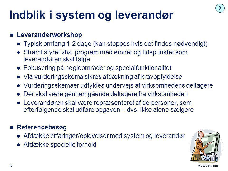 Indblik i system og leverandør