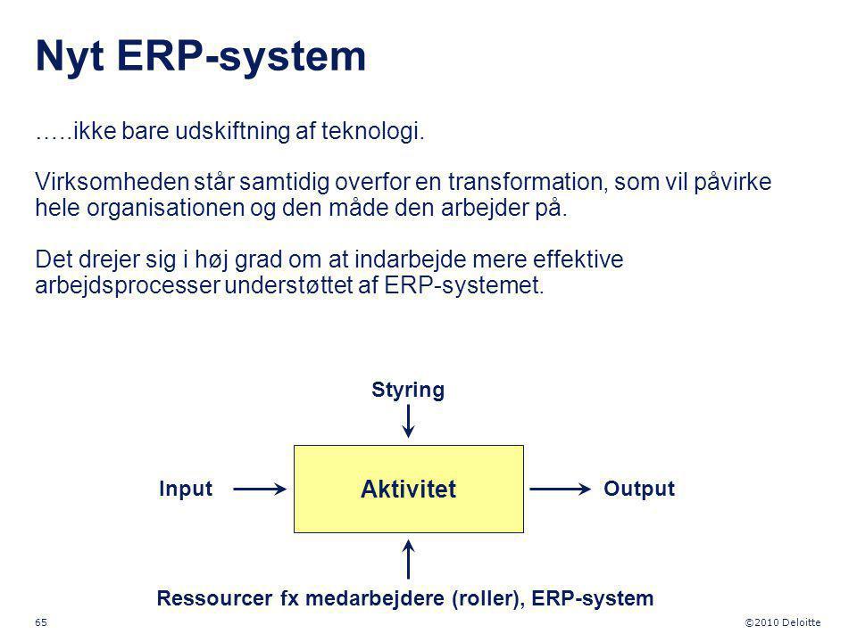Ressourcer fx medarbejdere (roller), ERP-system