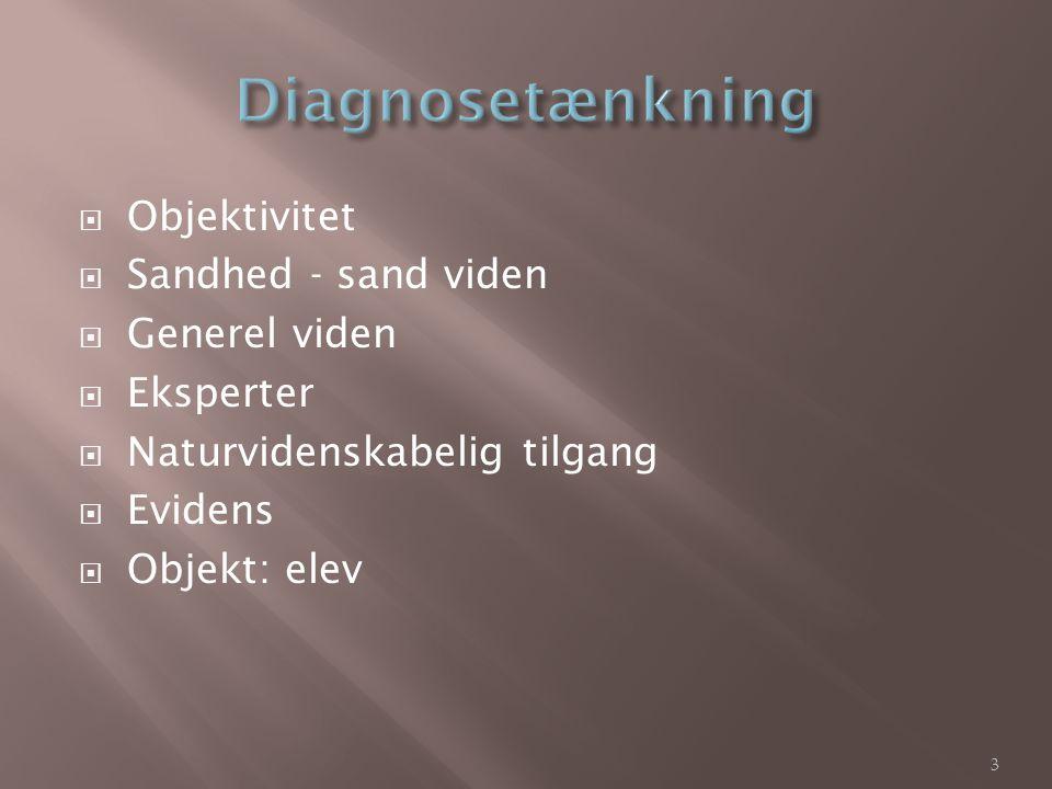 Diagnosetænkning Objektivitet Sandhed - sand viden Generel viden