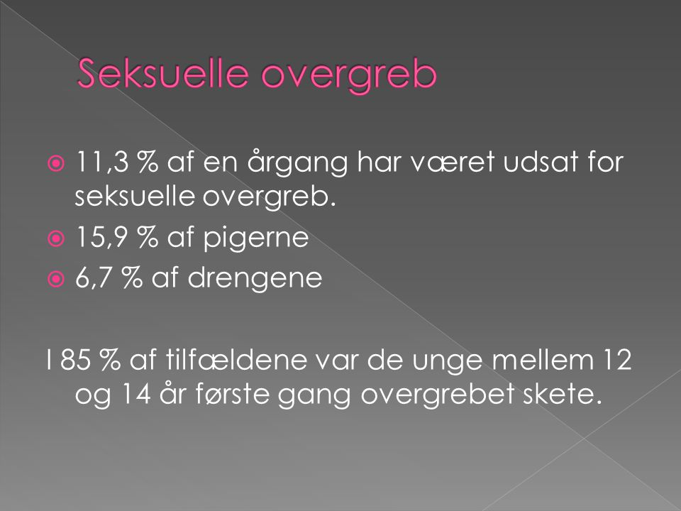 Seksuelle overgreb 11,3 % af en årgang har været udsat for seksuelle overgreb. 15,9 % af pigerne. 6,7 % af drengene.