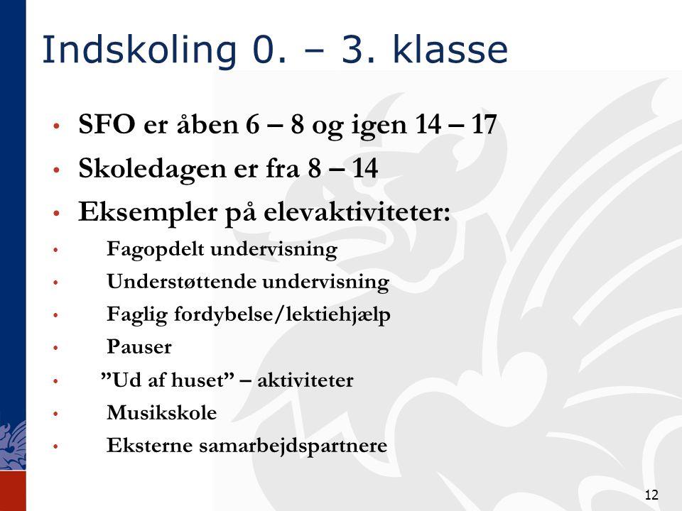 Indskoling 0. – 3. klasse SFO er åben 6 – 8 og igen 14 – 17