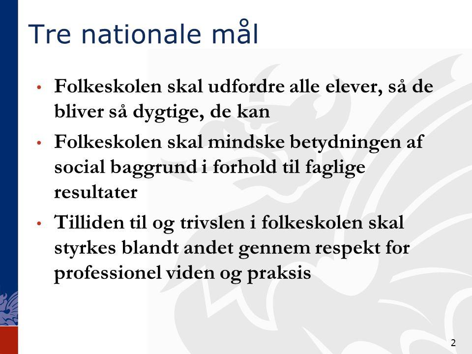 Tre nationale mål Folkeskolen skal udfordre alle elever, så de bliver så dygtige, de kan.