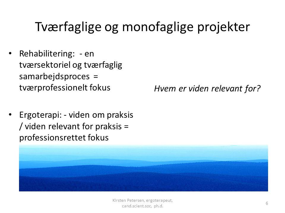 Tværfaglige og monofaglige projekter