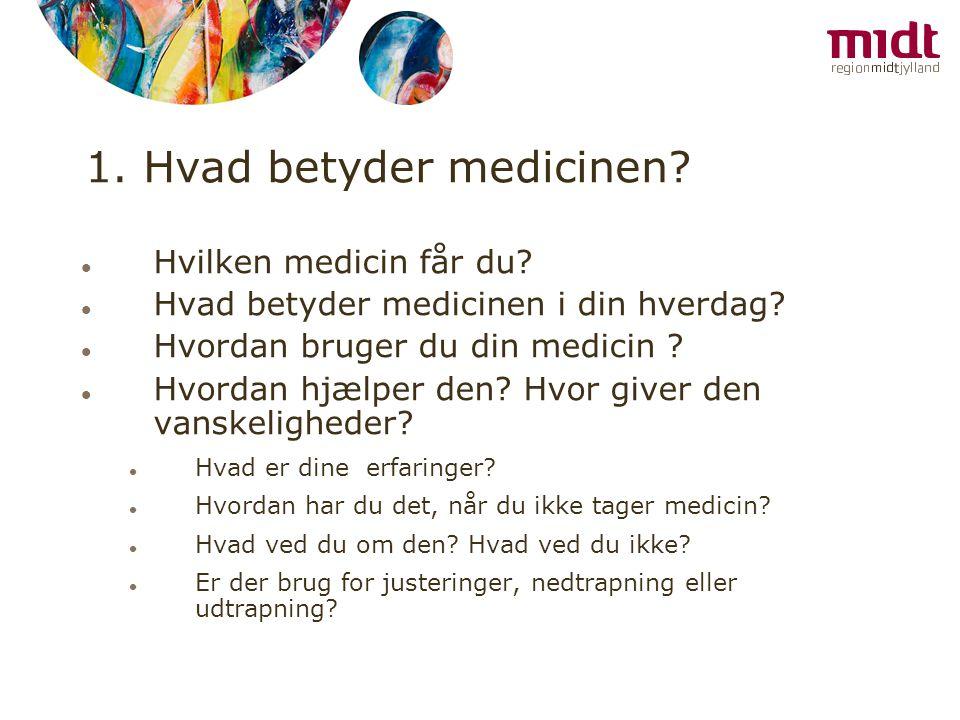 1. Hvad betyder medicinen
