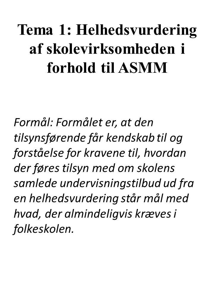 Tema 1: Helhedsvurdering af skolevirksomheden i forhold til ASMM