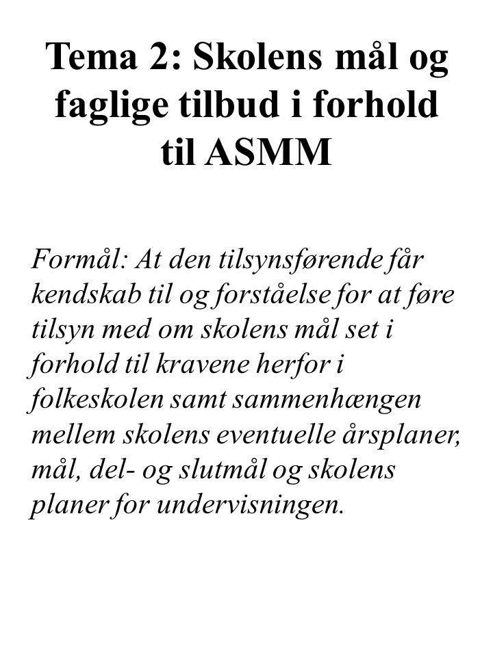 Tema 2: Skolens mål og faglige tilbud i forhold til ASMM