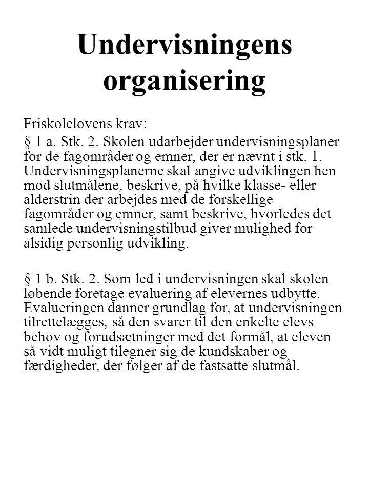 Undervisningens organisering