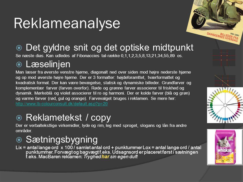 Reklameanalyse Det gyldne snit og det optiske midtpunkt Læselinjen