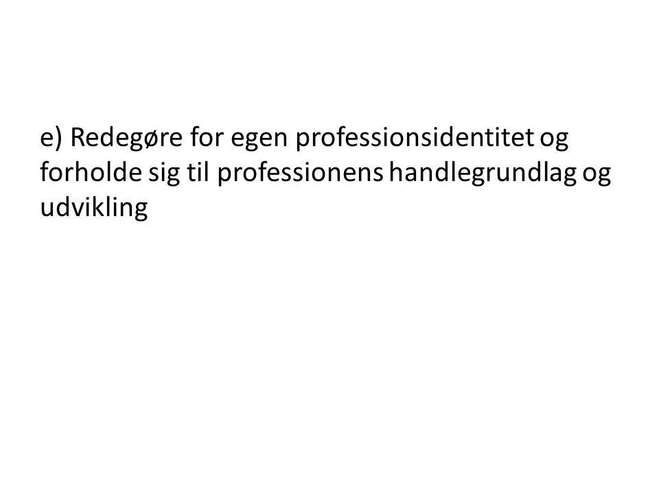 e) Redegøre for egen professionsidentitet og forholde sig til professionens handlegrundlag og udvikling
