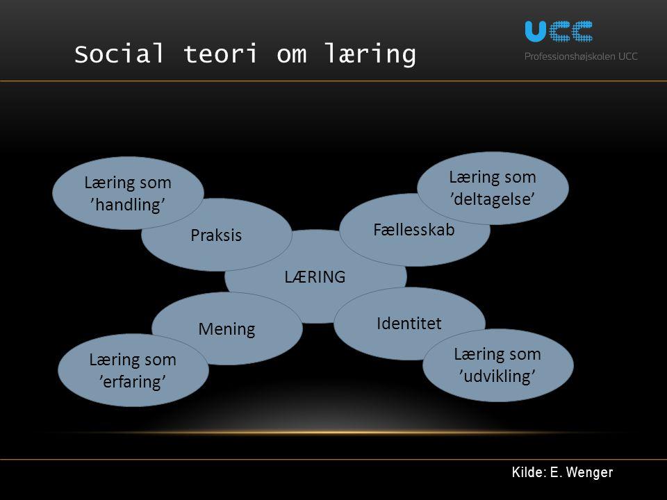 Social teori om læring Læring som 'deltagelse' Læring som 'handling'
