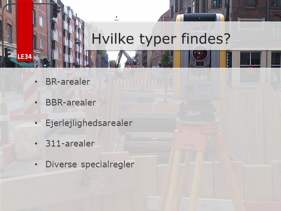 Hvilke typer findes BR-arealer BBR-arealer Ejerlejlighedsarealer