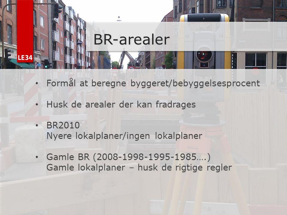 BR-arealer Formål at beregne byggeret/bebyggelsesprocent
