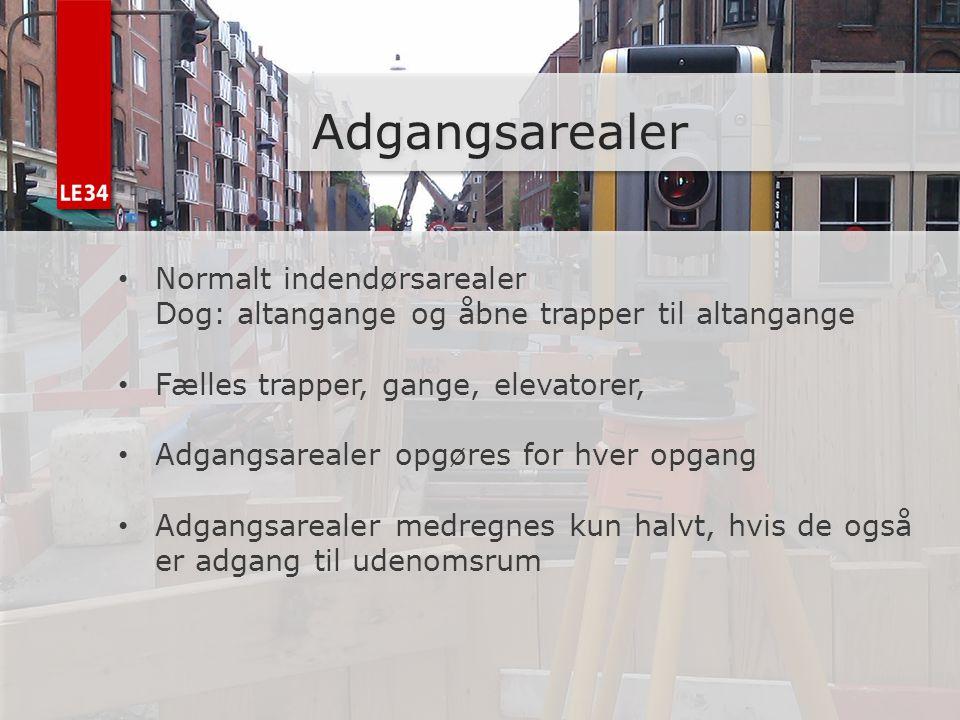 Adgangsarealer Normalt indendørsarealer