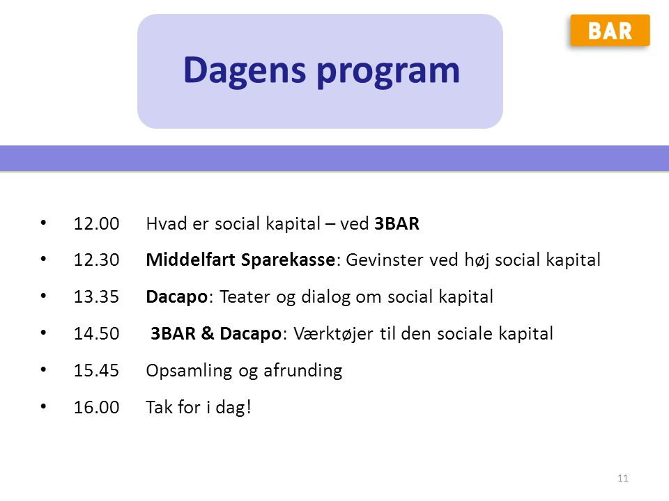 Dagens program 12.00 Hvad er social kapital – ved 3BAR