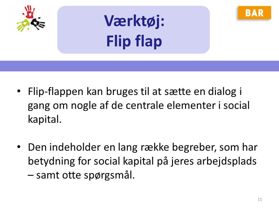 Værktøj: Flip flap. Flip-flappen kan bruges til at sætte en dialog i gang om nogle af de centrale elementer i social kapital.
